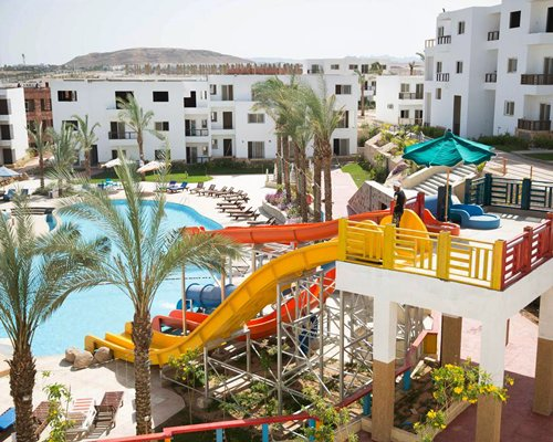 A view of resort with outdoor waterpark.