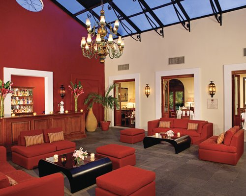 Lounge area with the reception counter at the resort.