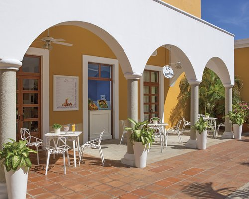 An exterior view of the resort unit with patio.