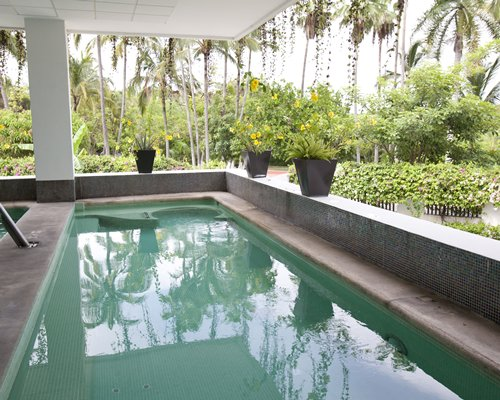 Covered outdoor swimming pool.