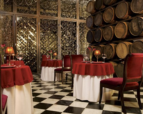 An indoor fine dining restaurant at the resort.