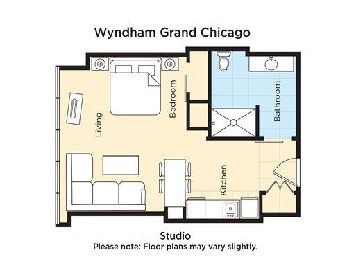 A floor plan of Studio at Wyndham Grand Chicago.