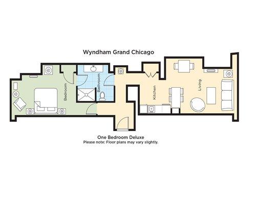 A floor plan of one bedroom Deluxe.