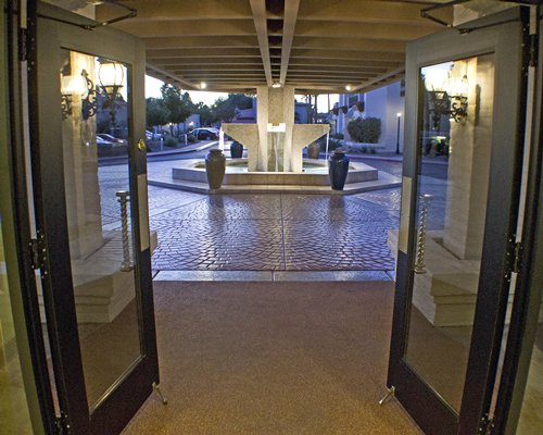 An interior view of the resort entrance with the water fountain.