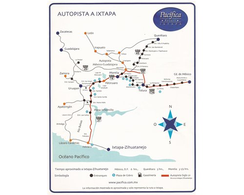 View of Pacifica Spa resort route map.