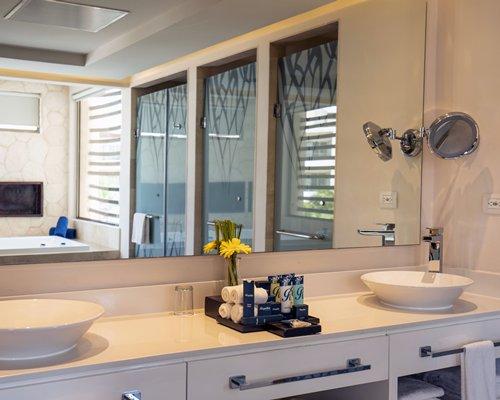Bathroom with double sink vanity.