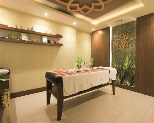 A well furnished indoor spa.