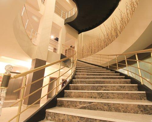 An indoor stairway at the resort.