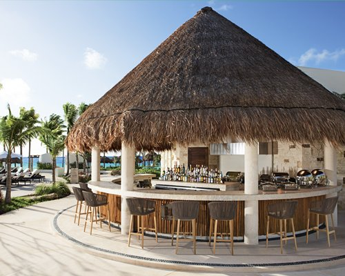 An outdoor bar with the thatched roof.