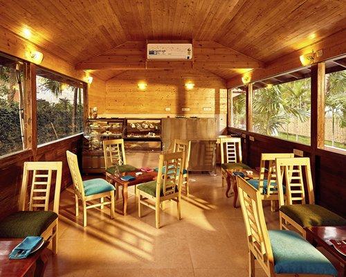 An interior of a cafe.