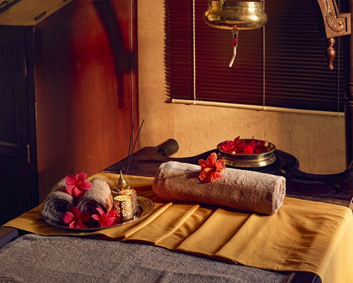 A well furnished indoor spa with a spa bed.