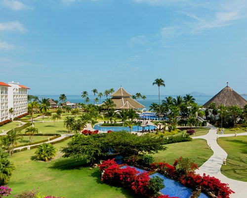 Resort grounds with ocean view.