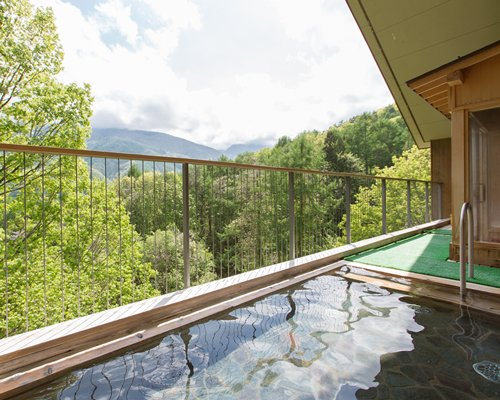 View of wooded area and mountains from the balcony with hot tub.