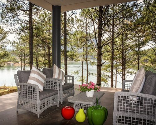 An outdoor patio alongside the water.