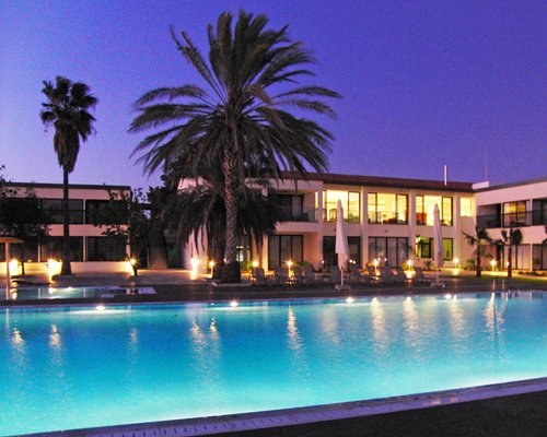 An outdoor swimming pool with trees alongside the resort at night.