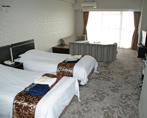 A well furnished living area with a television two beds and an outside view.