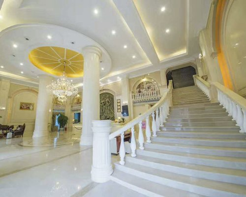 A well furnished indoor staircase.