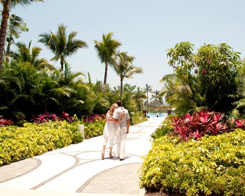 A couple in a landscaped pathway.