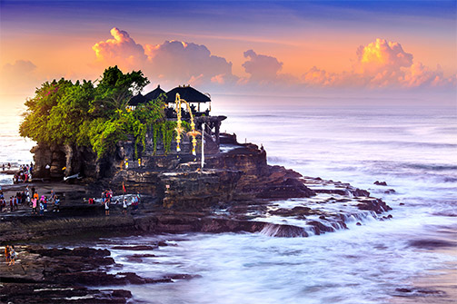 SUNSET OVER THE LEGENDARY TANAH LOT TEMPLE